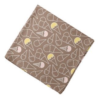 Ice Cream Cone Pattern on Brown Bandana