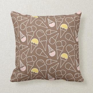 Ice Cream Cone Pattern on Brown Cushion