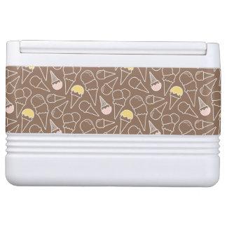 Ice Cream Cone Pattern on Brown Igloo Cool Box