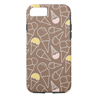 Ice Cream Cone Pattern on Brown iPhone 8/7 Case