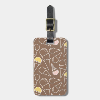 Ice Cream Cone Pattern on Brown Luggage Tag