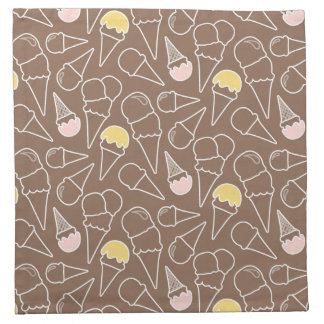 Ice Cream Cone Pattern on Brown Napkin