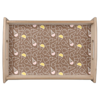 Ice Cream Cone Pattern on Brown Serving Tray