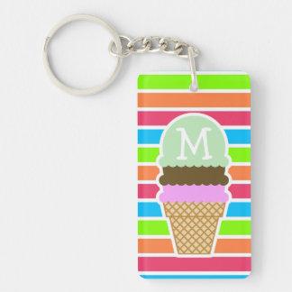 Ice Cream Cone; Retro Neon Rainbow Double-Sided Rectangular Acrylic Key Ring