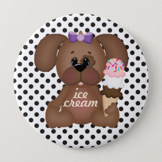 Ice Cream Cone Too Cool Puppy Dot Button