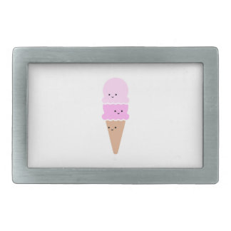 Ice Cream Cone with Cute Faces - Kawaii Pink Rectangular Belt Buckle