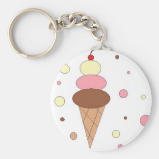 Ice Cream Cones Basic Round Button Key Ring