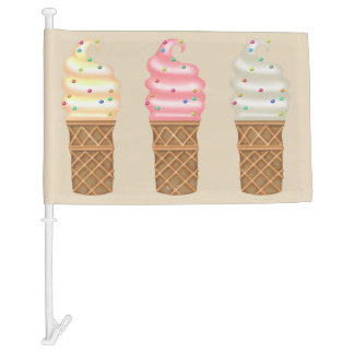 ICE CREAM CONES CARTOON Car Flag