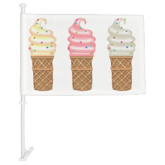 ICE CREAM CONES CARTOON Car Flag 2
