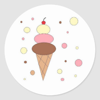 Ice Cream Cones Classic Round Sticker