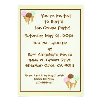 Ice Cream Cones 13 Cm X 18 Cm Invitation Card