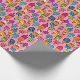 Ice Cream Cones on Pink Wrapping Paper