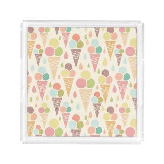 Ice cream cones pattern acrylic tray