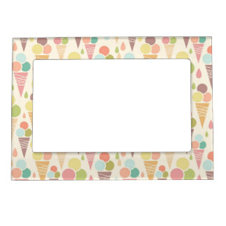 Ice cream cones pattern magnetic picture frames