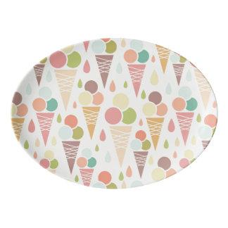 Ice cream cones pattern porcelain serving platter