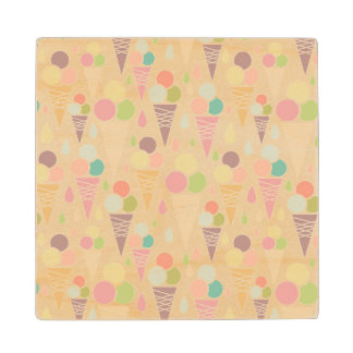 Ice cream cones pattern wood coaster