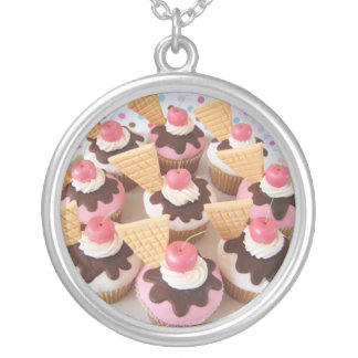 ice cream cupcakes round pendant necklace