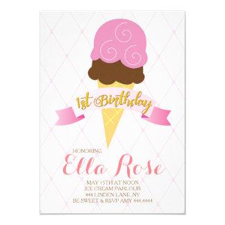 Ice Cream First Birthday Party 13 Cm X 18 Cm Invitation Card