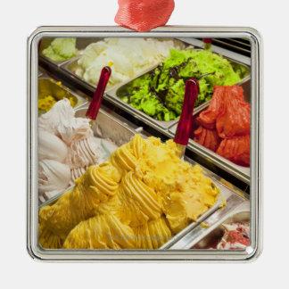 Ice cream flavors, Paris Silver-Colored Square Decoration