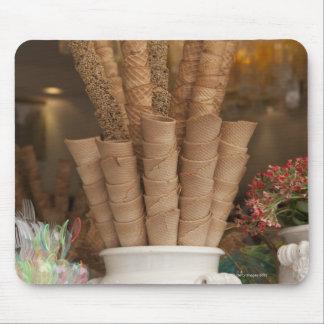 Ice cream gelato cones in shop window display mouse mat