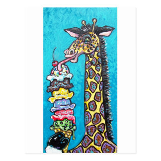 ice cream giraffe postcard