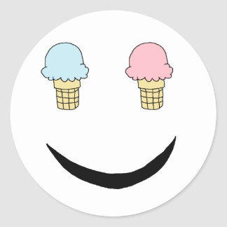 Ice Cream Happy Face Classic Round Sticker