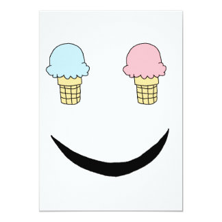 Ice Cream Happy Face 13 Cm X 18 Cm Invitation Card