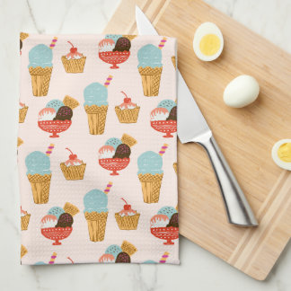 Ice Cream Illustration Pattern Tea Towel