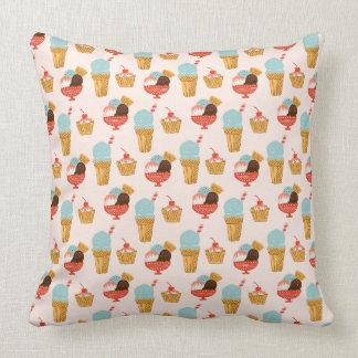 Ice Cream Illustration Pattern Throw Pillow