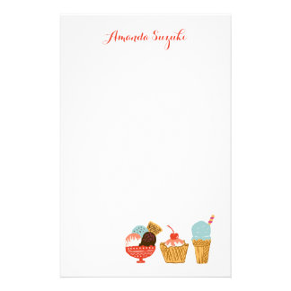 Ice Cream Illustration with Name Stationery