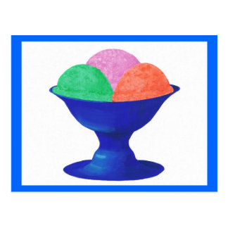 Ice cream in blue bowl party invitations postcard