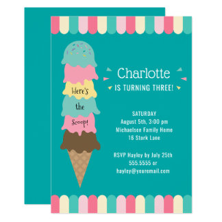 Ice Cream Kids Birthday Party Teal Card