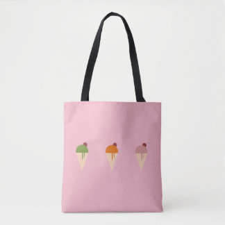 ice cream lover pink black tote bag
