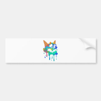 Ice Cream Mess Sweet Skull Sad Melting Bumper Sticker
