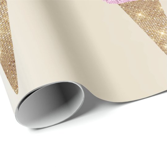 Ice Cream Mint Green Pink Ivory Metallic Summer Wrapping Paper
