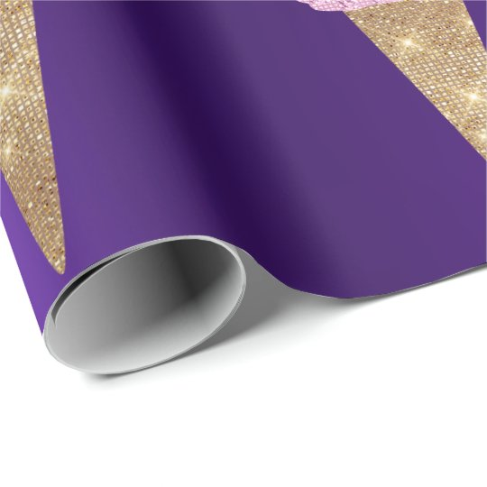 Ice Cream Mint Green Pink Purple Metallic Amethyst Wrapping Paper