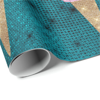 Ice Cream Mint Pink Pastel Ivory Spark Teal Wrapping Paper