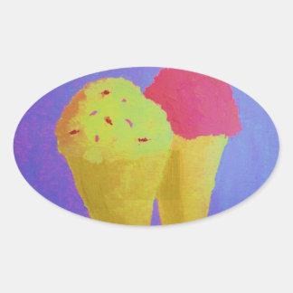 Ice Cream Oval Sticker