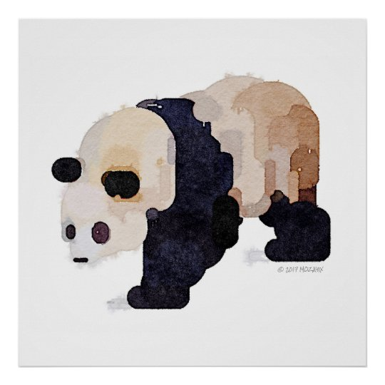 Ice Cream Panda Watercolor Painting (Large) Poster