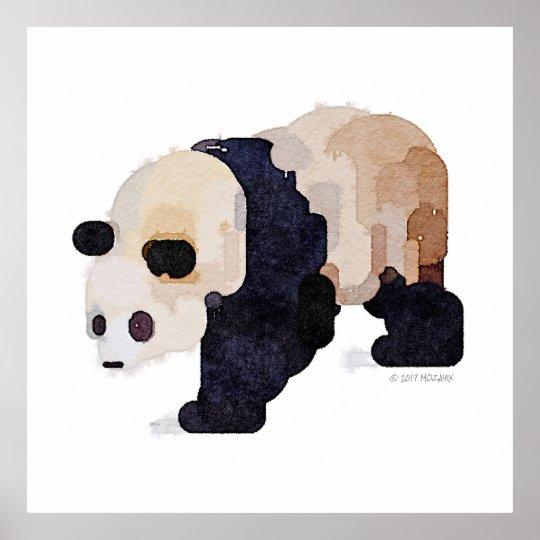 Ice Cream Panda Watercolor Painting (Large) Poster