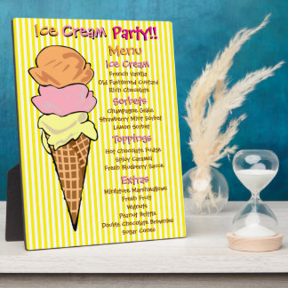 Ice Cream Party Custom Menu Display Plaque