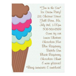 Ice Cream Party Invitation Postcard