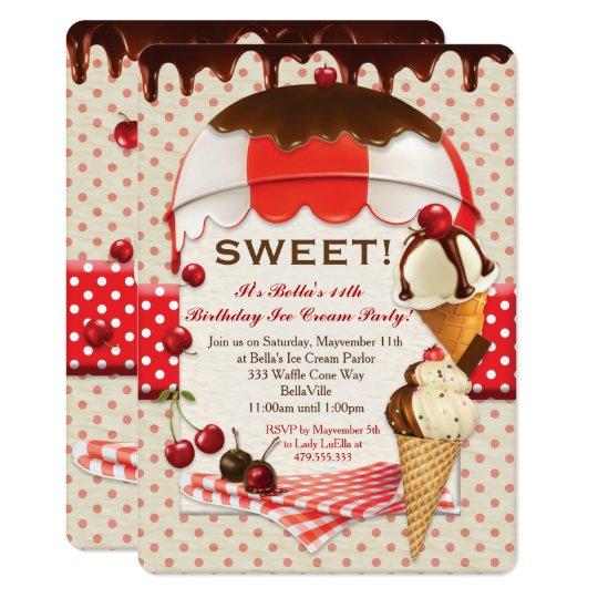 Ice Cream Party Invitations