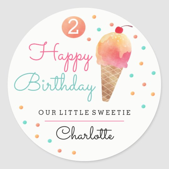 Ice Cream Party Kids Birthday Party Sticker