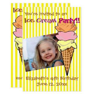 Ice Cream Party Photo Custom 9 Cm X 13 Cm Invitation Card