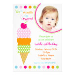 Ice Cream Photo Birthday Party Invitations