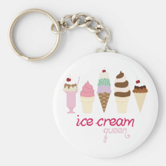 Ice Cream Queen Basic Round Button Key Ring