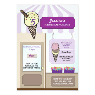 Ice Cream Shop Parlour Birthday Party Invite