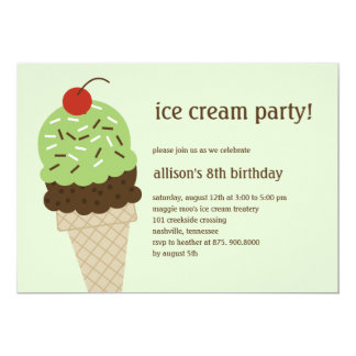 Ice Cream Shoppe Birthday Invitation - Green