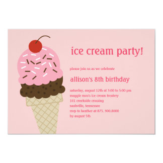 Ice Cream Shoppe Birthday Invitation - Pink